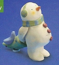 Russ Berrie Peace in the Meadow Small Figurine Earmuff Snowman with Tree - FREE USA SHIPPING!!