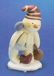 Russ Berrie Peace in the Meadow Small Figurine - Striped Hat Snowman with Birds - FREE USA SHIP!