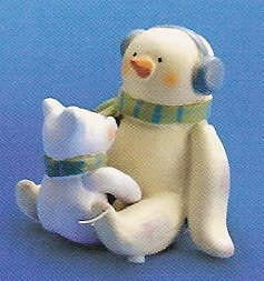 Russ Peace in the Meadow Small Figurine - Earmuff Snowman with Polar Bear - FREE USA SHIPPING!!