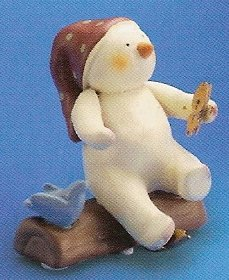 Russ Peace in the Meadow Small Figurine - Red Hat Snowman on Log - FREE USA SHIPPING!!
