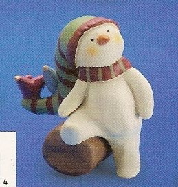Russ Peace in the Meadow Small Figurine Green Striped Hat Snowman on Log FREE USA SHIPPING!!