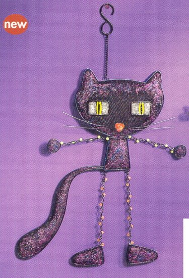 Russ Halloween Happy Hauntings Metal Mesh Wall Hanging BLACK CAT - FREE USA SHIPPING!