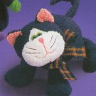 Russ Berrie Halloween Plush Chamois Boo Buddies - BLACK CAT FREE USA SHIPPING!!