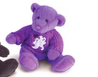 Russ Berrie Halloween Plush Sweater Teddy Bear - Spookly Purple FREE USA SHIPPING!!