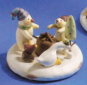 Russ Peace in the Meadow Snow Scenes Figurine Snowman & Ducks FREE USA SHIPPING!!!