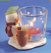 Russ Peace in the Meadow Small Votive - Snowman with Flower Pots- FREE USA SHIPPING!