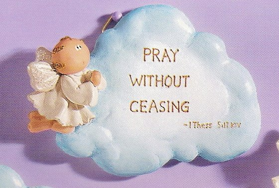 Russ Angel Cheeks Cloud Plaque - Pray Without Ceasing - FREE USA SHIPPING!!!