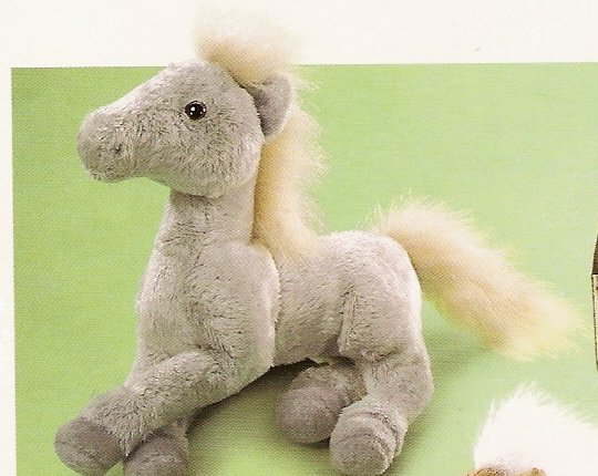 Russ Berrie Barn Mates Plush Horse - Small Grey with Cream Mane FREE USA SHIPPING!!