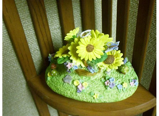 Russ Berrie Oval Candle Jar Topper - Spring Sunflower Basket  FREE USA SHIPPING!