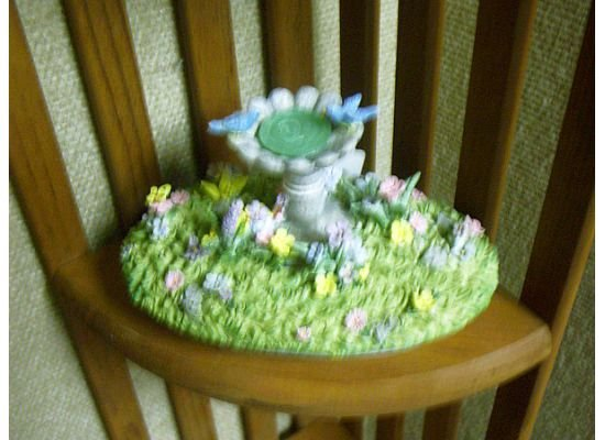 Russ Berrie Oval Candle Jar Topper - Spring Bluebird Bird Bath  FREE USA SHIPPING!!!