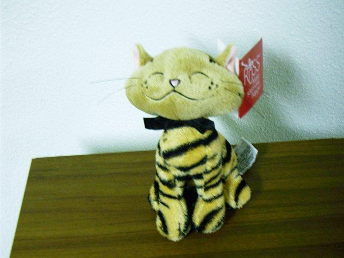 "Russ Berrie Plush Cat - Aggie - 6"" Tan / Black  FREE USA SHIPPING!"