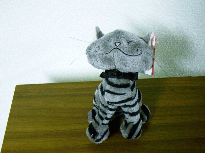 "Russ Berrie Plush Cat - Aggie - 6"" Grey / Black FREE USA SHIPPING!!!"