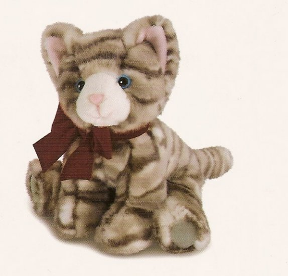 Russ Berrie Winter Scarf Pets - Plush Brown Tabby Cat FREE USA SHIPPING