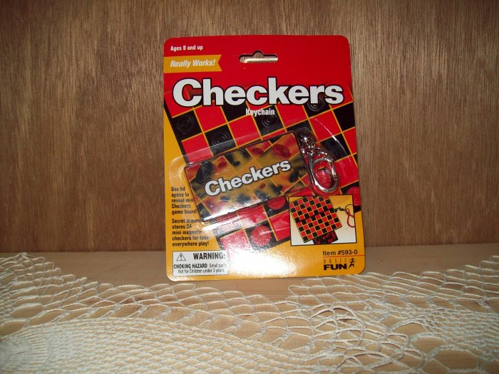 Checkers Classic Games Keychain by Basic Fun FREE USA SHIPPING!!