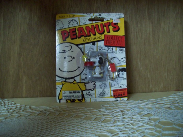 Basic Fun Peanuts Snoopy with Dog Bowl Keychain FREE USA SHIPPING