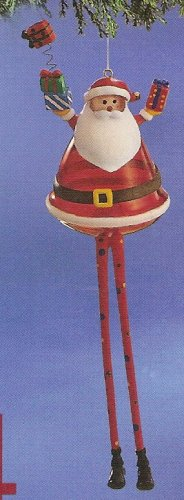 Russ Celebration of the Season Long Legged Glass Ornament Santa FREE USA SHIPPING