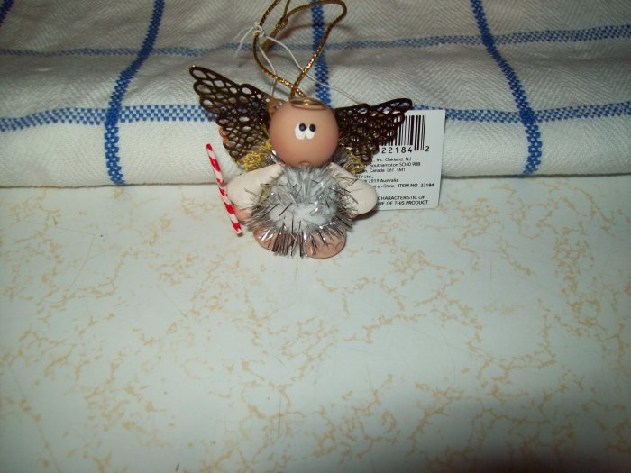 Angel Cheeks Mini Angel Christmas Ornament - Silver with Candy Cane FREE USA SHIPPING