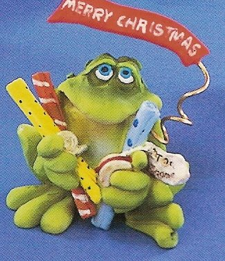 Russ Toadily Yours Christmas Frog with Wrapping Paper 22036 FREE USA SHIPPING!