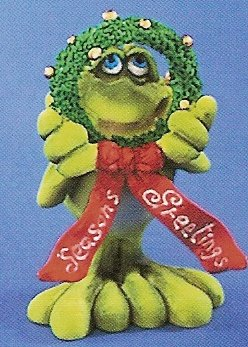 Russ Toadily Yours Christmas Frog with Seasons Greetings Wreath 22036 FREE USA SHIPPING!