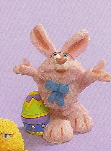 Russ Easter Farm by Doug Harris - Pink Bunny Standing with Egg - FREE USA SHIPPING!!!