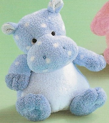 Russ Berrie Baby Plush Collection - Polka Dotsies Rattle Hippo - Blue  FREE USA SHIPPING!
