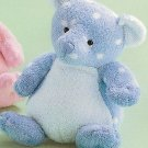 Russ Berrie Baby Plush Collection - Polka Dotsies Rattle Teddy Bear Blue FREE USA SHIPPING!