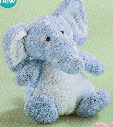 Russ Berrie Baby Plush Collection - Polka Dotsies Rattle Elephant - Blue  FREE USA SHIPPING!