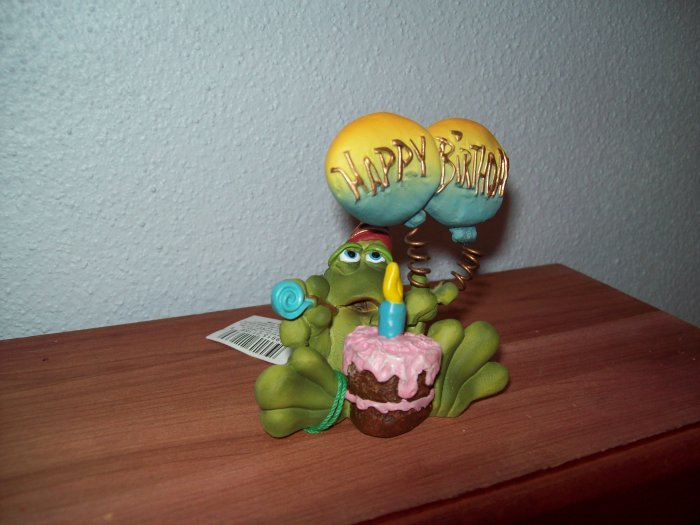 Russ Toadily Yours Happy Birthday Frog with Balloons and Cake 21166 FREE USA SHIPPING!