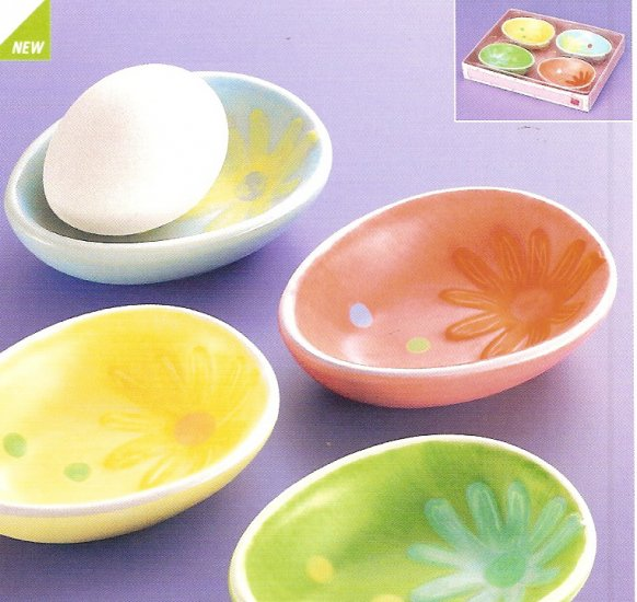 Russ Berrie Welcome Friends Easter Egg Snack Dishes Set of 4 - FREE USA SHIPPING!!!