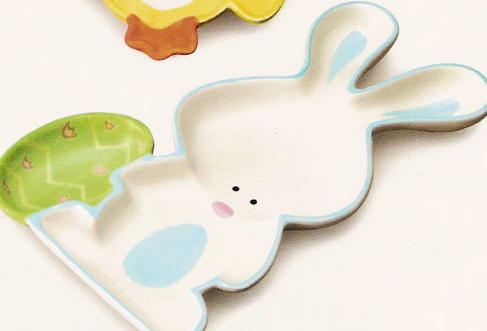 Russ Berrie Welcome Friends Easter Serving Dish - White & Blue Bunny - FREE USA SHIPPING!!!