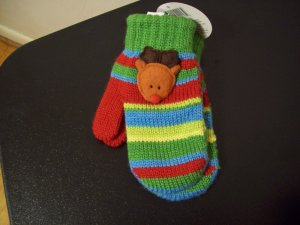 Russ Berrie Warm and Toasty Toddler Mittens - Reindeer FREE USA SHIPPING!