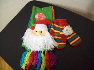 Russ Berrie Warm & Toasty Toddler Scarf & Mitten Set - Santa FREE USA SHIPPING