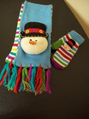 Russ Berrie Warm & Toasty Toddler Scarf & Mittens Set - Snowman FREE USA SHIPPING