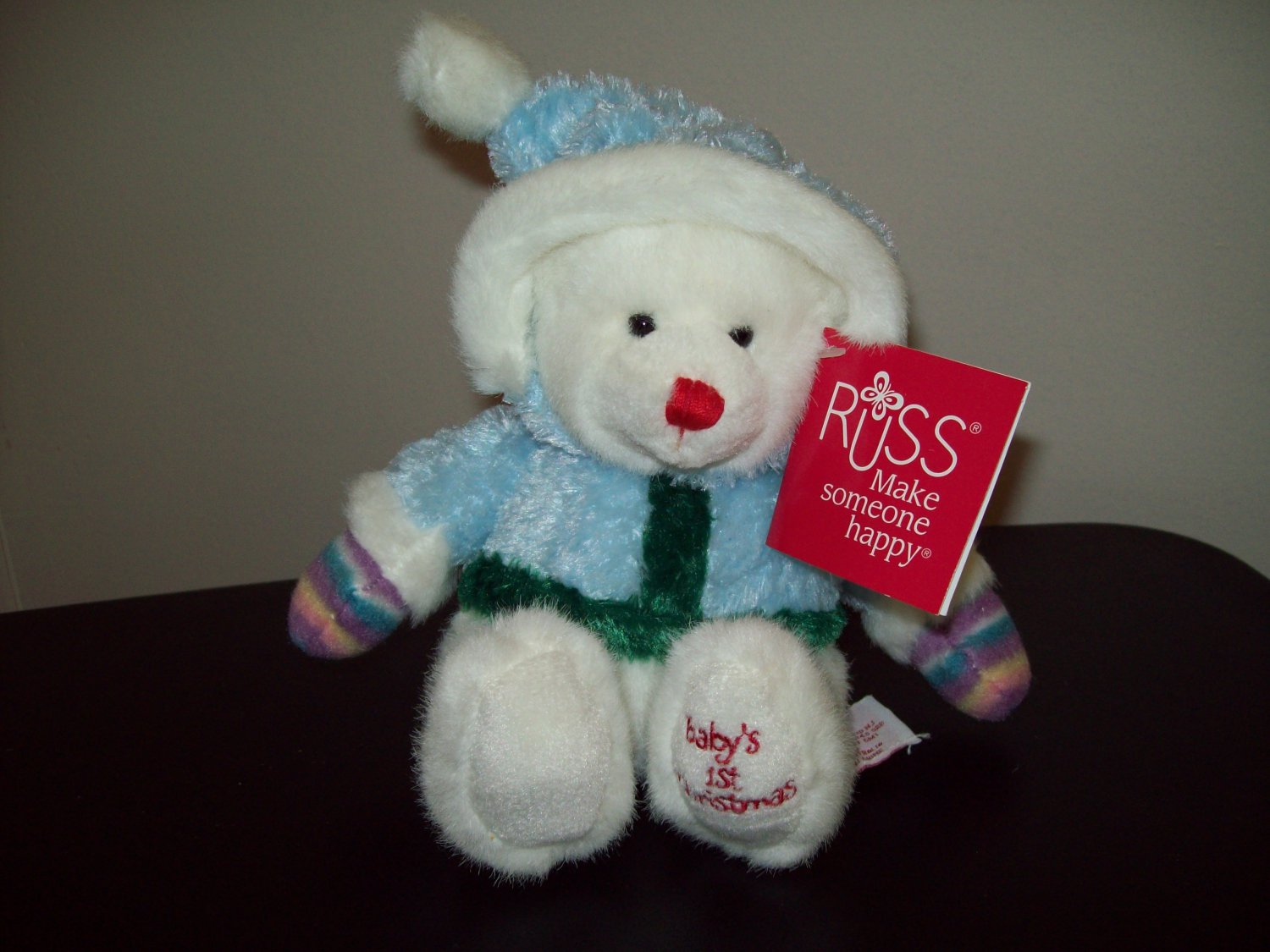 Russ Berrie Christmas- Plush Teddy Bear - Baby's First Christmas - Blue