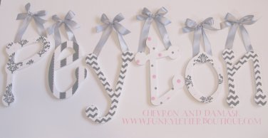 painted s nursery wall letters chevron zig zag damask