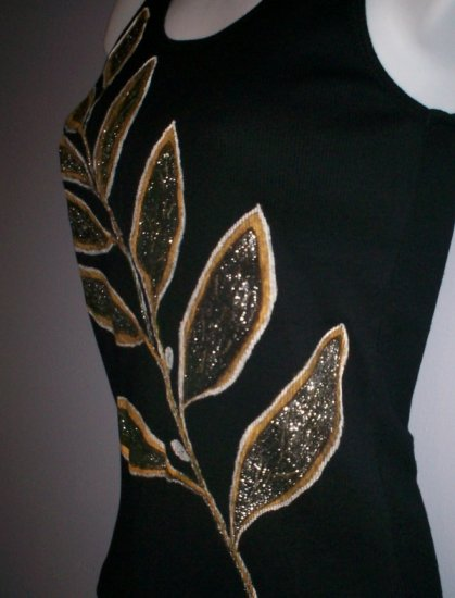 Black Hand Painted Goled Leaf Top