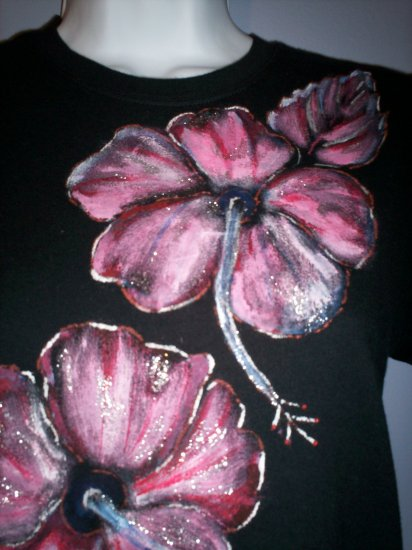 Black Hand Painted Pink Hibiscus T Shirt
