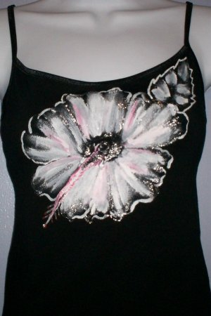 Black Hand Painted Silver & White Camisole