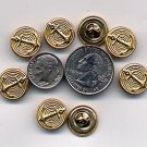 "50 Nautical Shank Metal Gold Buttons 9/16"" 15mm #30"