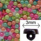 Bright Mix 3mm Tiny Shank Doll Buttons - 144 pieces