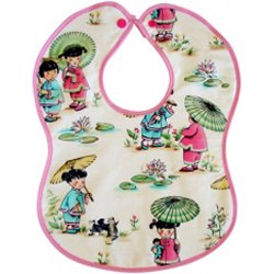 Vintage Kid's Little China Dolls Bib