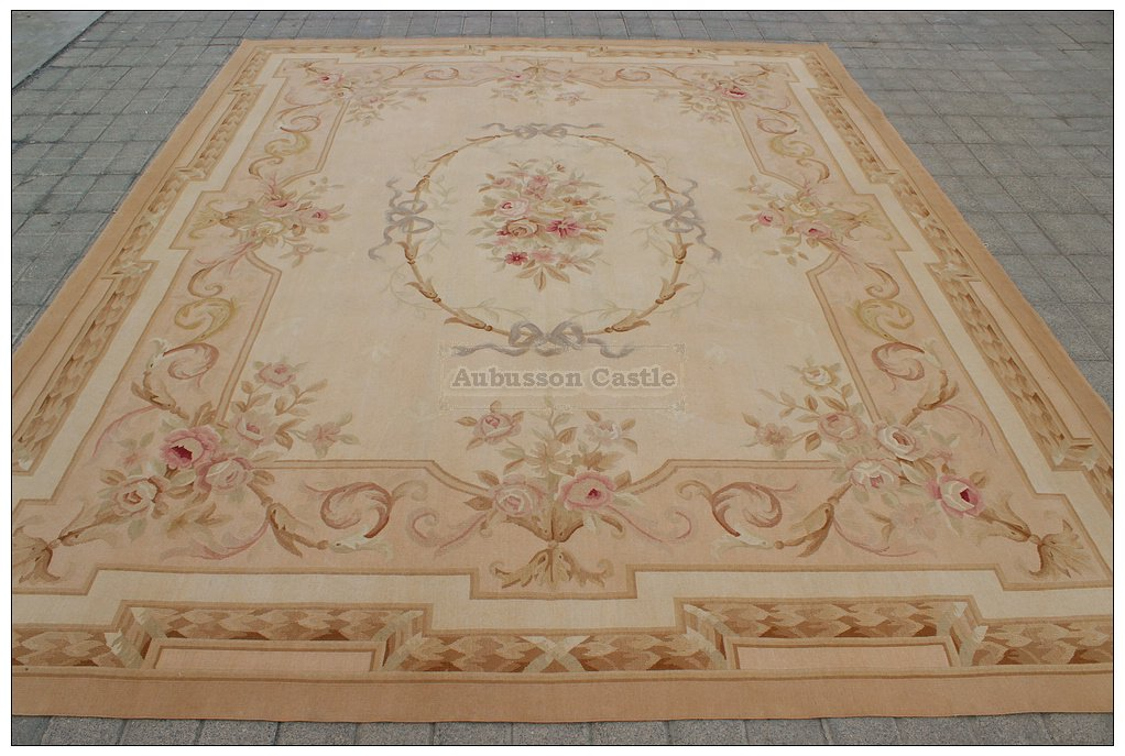 8X10 Aubusson Area Rug ANTIQUE FRENCH PASTEL Wool Handwoven Carpet FREE SHIP!