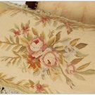 24X12 Aubusson Rose Pillow French Cottage Cushion PASTEL YELLOW BEIGE CREAM GOLD