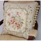 "18"" SILK Woven Aubusson Rose Pillow Cottage French Decor Pastel Green Pink Ivory"
