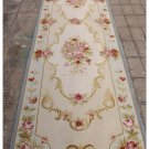 2'6X10 RUNNER Aubusson Rug Shabby French Chic Light Blue Ivory Pink Stair Carpet