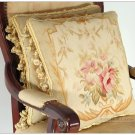 "A PAIR! 16"" WOOL Aubusson Pillow PASTEL GOLD PINK CREAM Wool French Cushion $900"