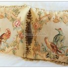 A PAIR! Vintage French Aubusson Pillow PARROT BIRDS Wool Decorative Cushion 18""
