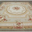 9'X12' PASTEL LIGHT GREEN IVORY Aubusson Area Rug French Shabby Chic Carpet NEW