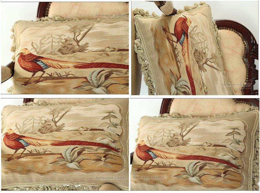 "A PAIR! 22X14"" PHEASANT Aubusson Pillow ANTIQUE FRENCH DECOR Decorative Cushion"