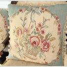 "18"" BLUE Aubusson Cottage Pillow WOOL French Rose Floral Victoria Cushion Cover"